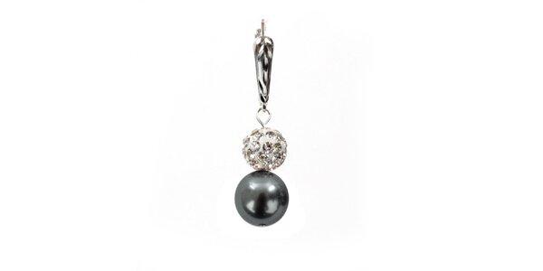 Dámské náušnice s šedostříbrnou perlou Swarovski a stříbrným zapínáním Royal…