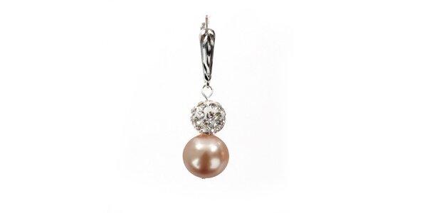 Dámské náušnice s broskvově růžovou perlou Swarovski a stříbrným zapínáním…