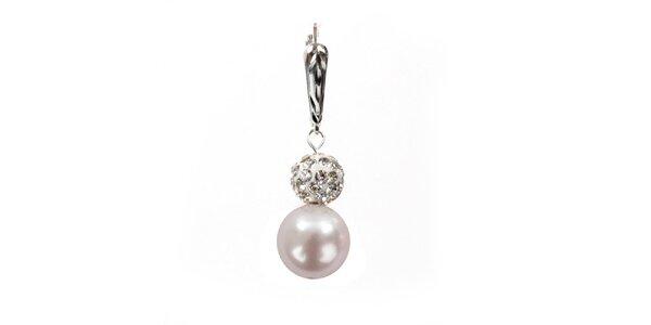 Dámské náušnice se světle růžovou perlou Swarovski a stříbrným zapínáním Royal…