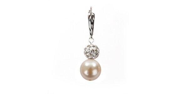 Dámské náušnice s lososově růžovou perlou Swarovski a stříbrným zapínáním Royal…