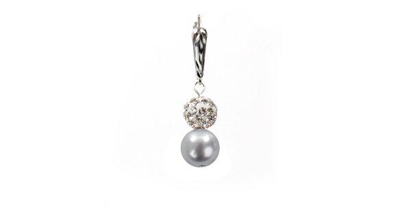 Dámské náušnice s jemně fialovou perlou Swarovski a stříbrným zapínáním Royal…