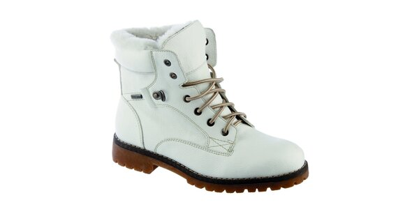 Dámské krémově bílé kotníkové boty s vlněnou podšívkou Keddo