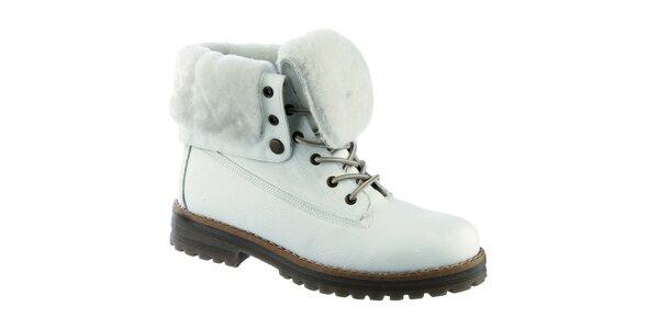 Dámské bílé šněrovací boty s kožešinkou Keddo
