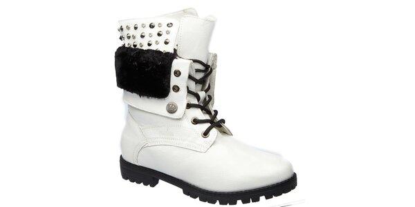 Dámské bílé šněrovací boty s cvočky Keddo