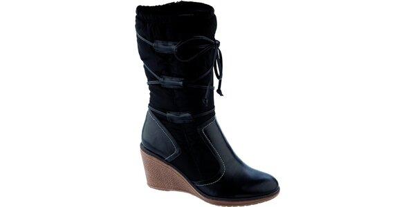 Dámské černé vysoké boty na klínku Betsy