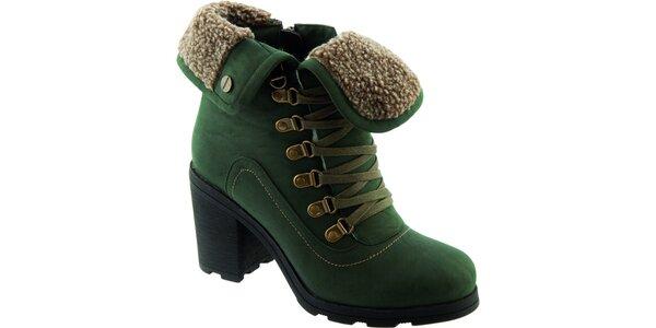 Dámské zelené šněrovací boty Betsy