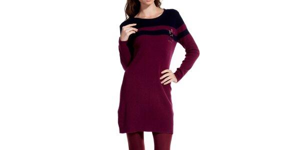 Dámské vínové šaty s dlouhým rukávem Galvanni