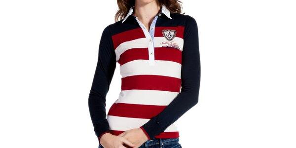 Dámské červenobíle pruhované polo triko s tmavými rukávy Galvanni
