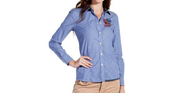 Dámská světle modrá proužkovaná košile Galvanni