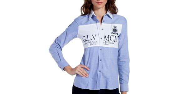 Dámská světle modrá košile s loketními nášivkami Galvanni