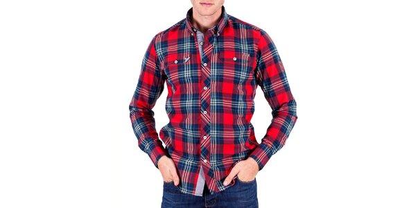 Pánská červená košile s kostičkami Galvanni