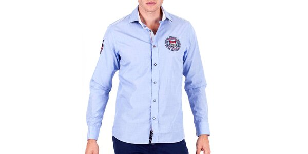 Pánská světle modrá sportovní košile s výšivkami Galvanni