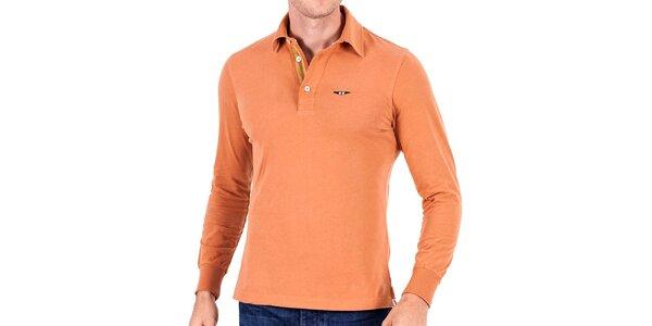 Pánské světle oranžové polo s dlouhým rukávem Galvanni