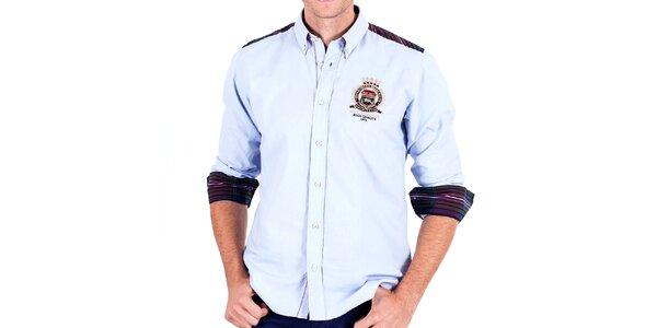 Pánská bledě modrá sportovní košile s loketními nášivkami Galvanni