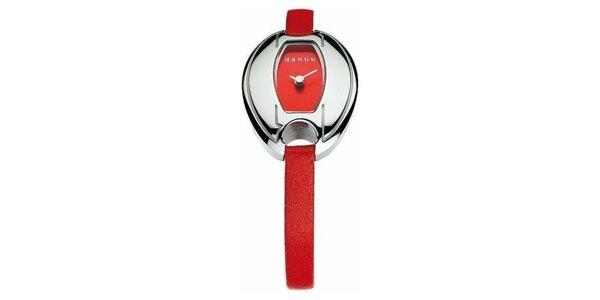 Dámske hodinky Mango s červeným koženým řemínkem i ciferníkem