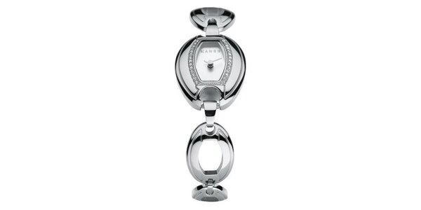 Dámske hodinky Mango s bílým ciferníkem, osazením skleněnými kamínky…