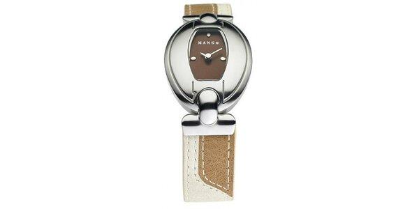 Dámske hodinky Mango s hnědým ciferníkem a béžovým koženým řemínkem