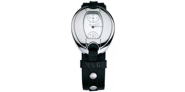 Dámske hodinky Mango s bílým 24hodinovým ciferníkem a černým koženým řemínkem