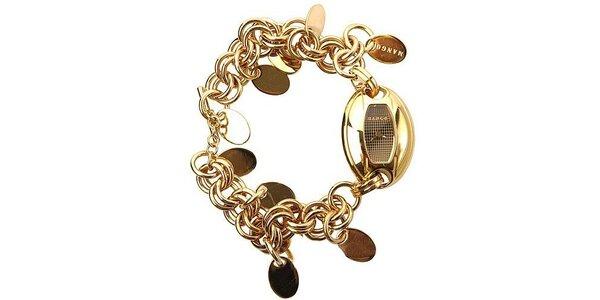 Dámské hodinky s pozlaceným náramkem a ciferníkem