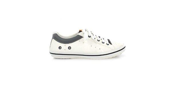 Pánské černo-bílé kožené tenisky Crocs
