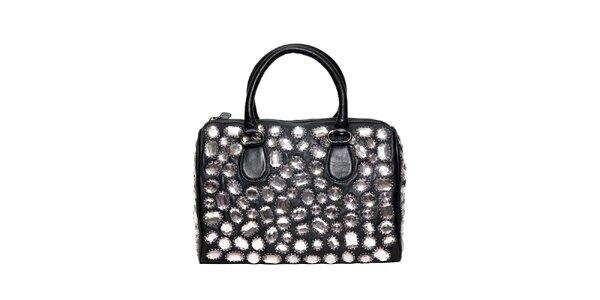 Černá kožená kabelka značky Café Noir s kameny