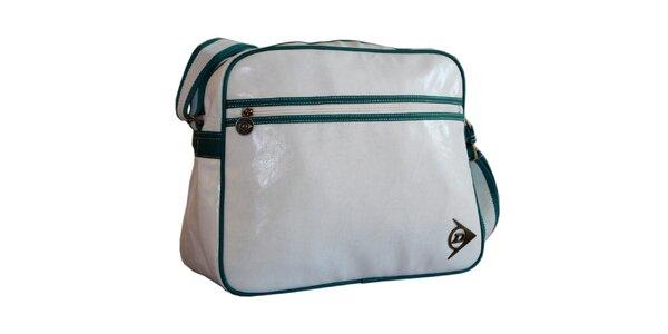 Bílo-zelená sportovní taška přes rameno Dunlop