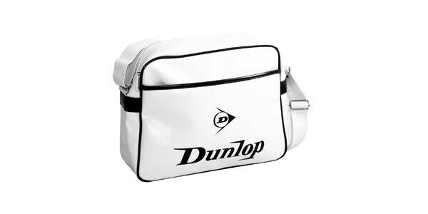 Sportovní bílá taška s černým logem Dunlop