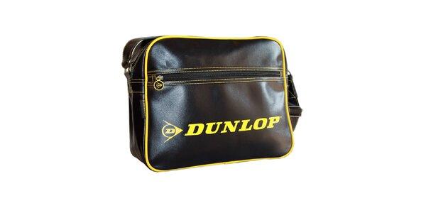 Sportovní černá taška se žlutým logem Dunlop