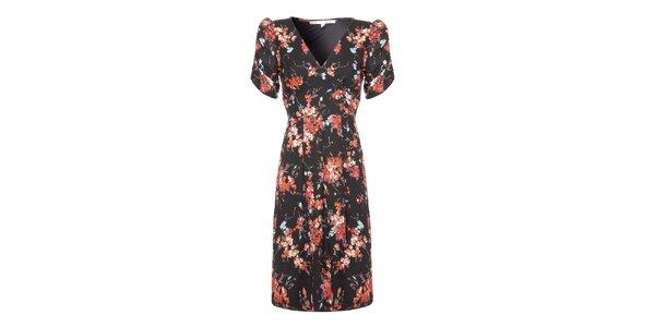 Dámské černé šaty s květinovým potiskem Uttam Boutique