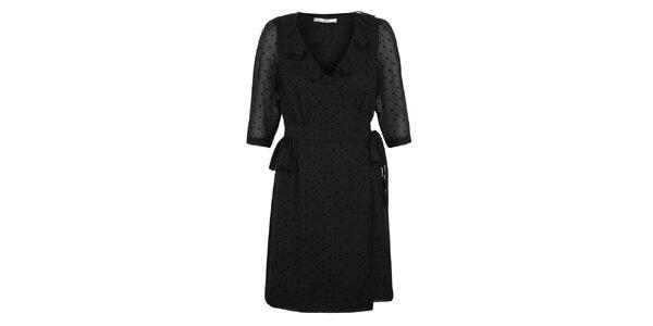 Dámské černé večerní šaty s puntíky Uttam Boutique