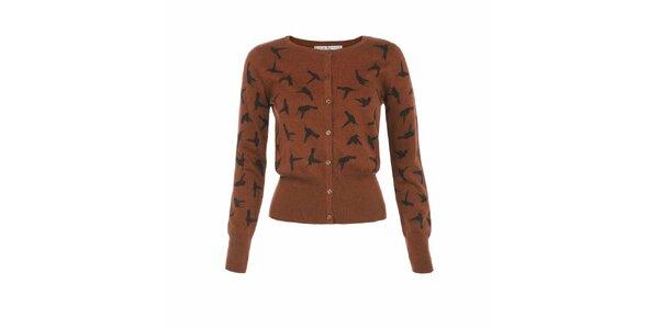 Dámský hnědý kardigan s potiskem kolibříků Uttam Boutique