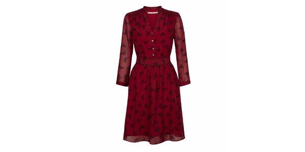 Dámské červené šaty s potiskem motýlků