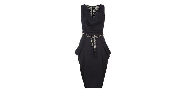 Dámské tmavě modré šaty s řasením Uttam Boutique