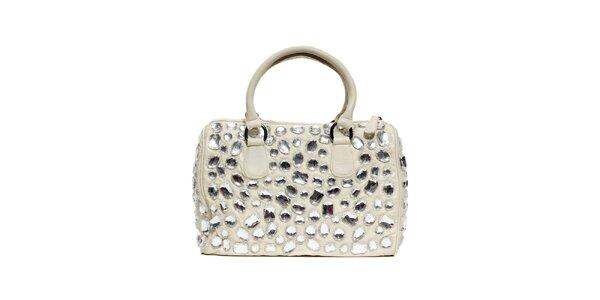Smetanová kožená kabelka značky Café Noir s kameny