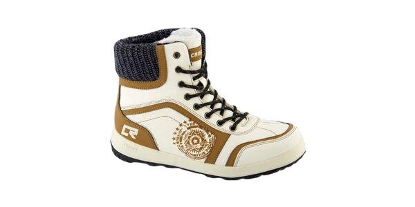 Dámské bílé boty s okrovými detaily Crosby