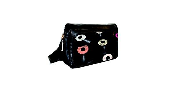 Černá messenger taška s potiskem vinylových desek Kothai