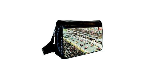 Černá messenger taška s potiskem závodních aut Kothai