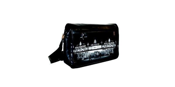 Černá messenger taška s potiskem Hollywoodu Kothai