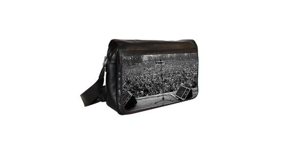 Černá messenger taška s motivem mikrofonu Kothai