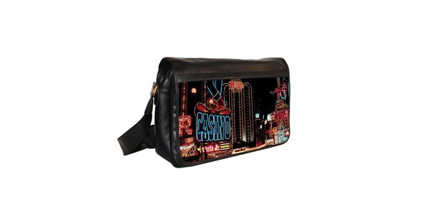 Černá messenger taška s motivem kasina Kothai