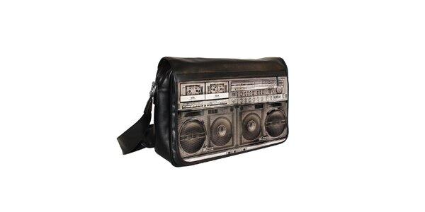 Černá messenger taška s motivem hudebního přehrávače Kothai