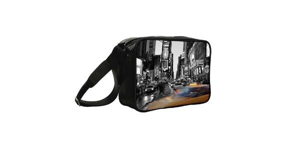 Černá taška s potiskem New Yorku Kothai