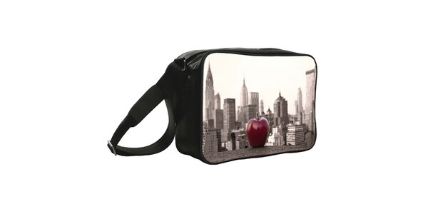 Černá taška s potiskem velkého jablka Kothai