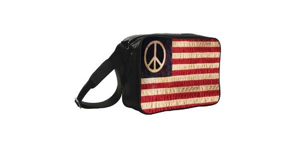 Černá taška s hippie vlajkou Kothai