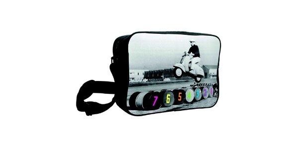 Šedočerná taška s potiskem Kothai