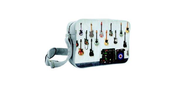 Šedá taška s kytarami Kothai