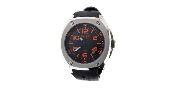Pánské ocelové hodinky Jet Set s černým silikonovým řemínkem