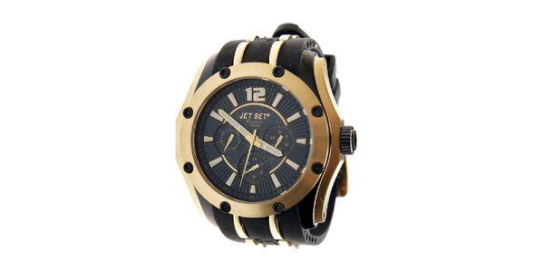 Zlaté hodinky Jet Set s černým silikonovým páskem