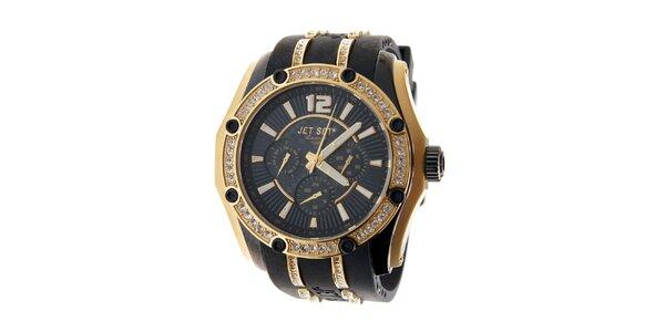 Dámské zlaté hodinky Jet Set s kamínky a černým silikonovým řemínkem