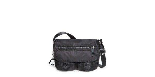 Černá šusťáková kabelka Kipling s kapsičkami